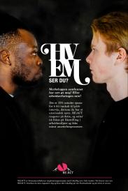 """Plakat laget for og med RE:ACT i kampanjen """"Hvem ser du?"""""""